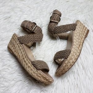 Stuart Weitzman Alex Braided Low Wedge Sandals